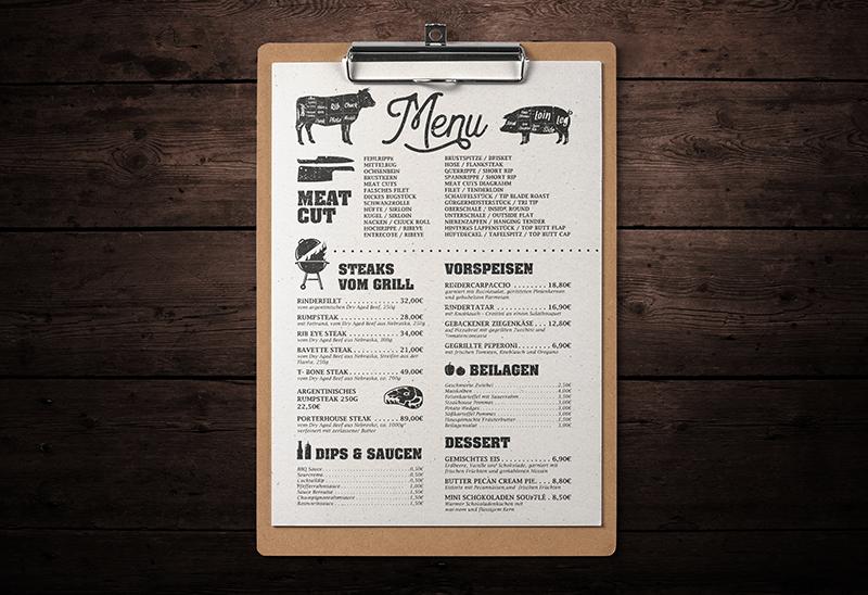 Speisekarte für Steakhouse Matador