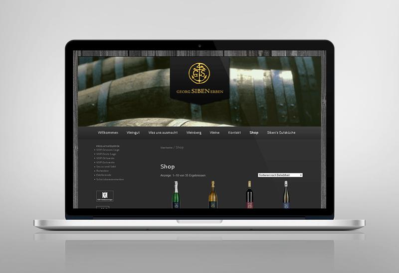 Webdesign für Weingut Siben Erben