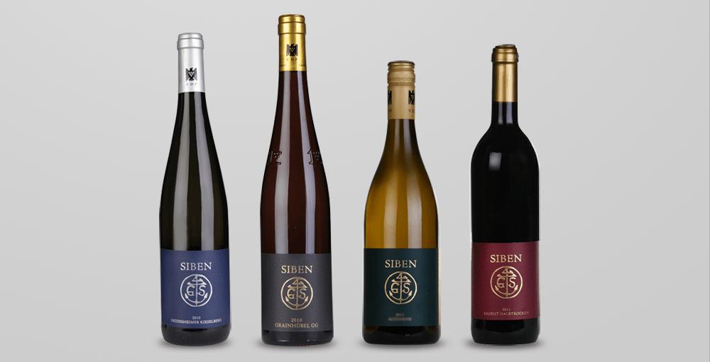 Gestaltung der Weinetiketten für das Weingut Siben Erben in Deidesheim / Pfalz