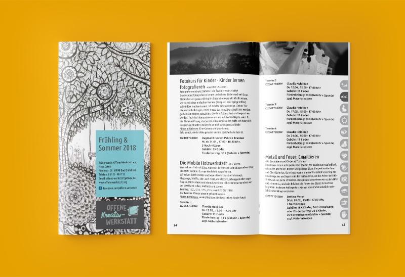 Gestaltung der Veranstaltungsbroschüre für die Offene Kreativ-Werkstatt in Bad Dürkheim