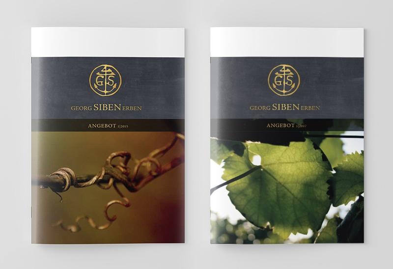 Gestaltung der Broschüren für das Weingut Siben Erben in Deidesheim / Pfalz